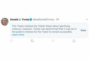 Il Tweet di Trump rimosso da Twitter